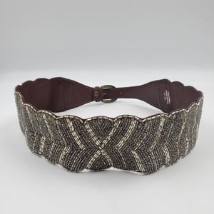 Anthro Jasper & Jeera Beaded Leather Belt sz M